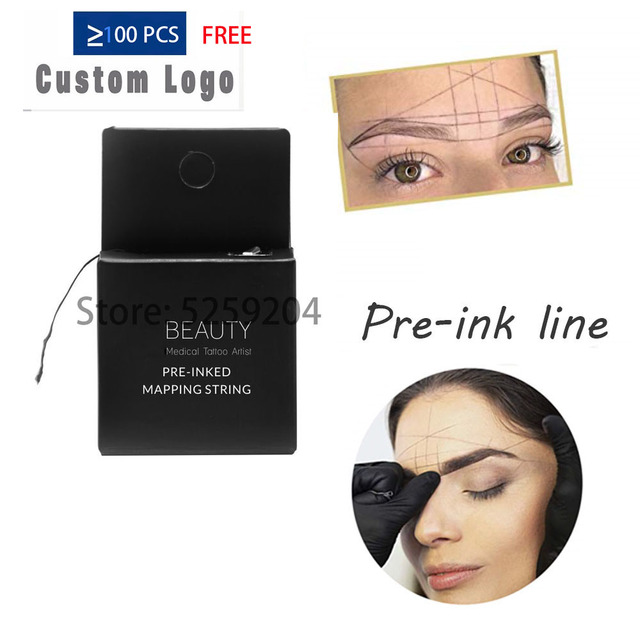 Pre-Inked Brow Mapping String 10Meters Microblading, Microshading Cosmetic Tattooing Tool for Permanent Makeup Eyebrow Measuring