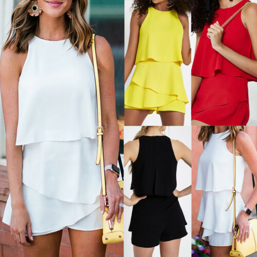 Summer Women's Mini Playsuit Romper Ladies Boho Holiday Sundress Beach Shorts