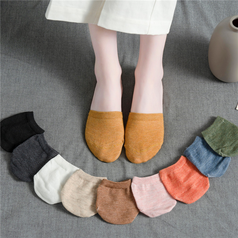 10pieces =5pairs Summer Forefoot Socks Women Solid Candy Color Heels Invisible Half Palm Foot Toe Cover Socks Sock Slipper Gifts