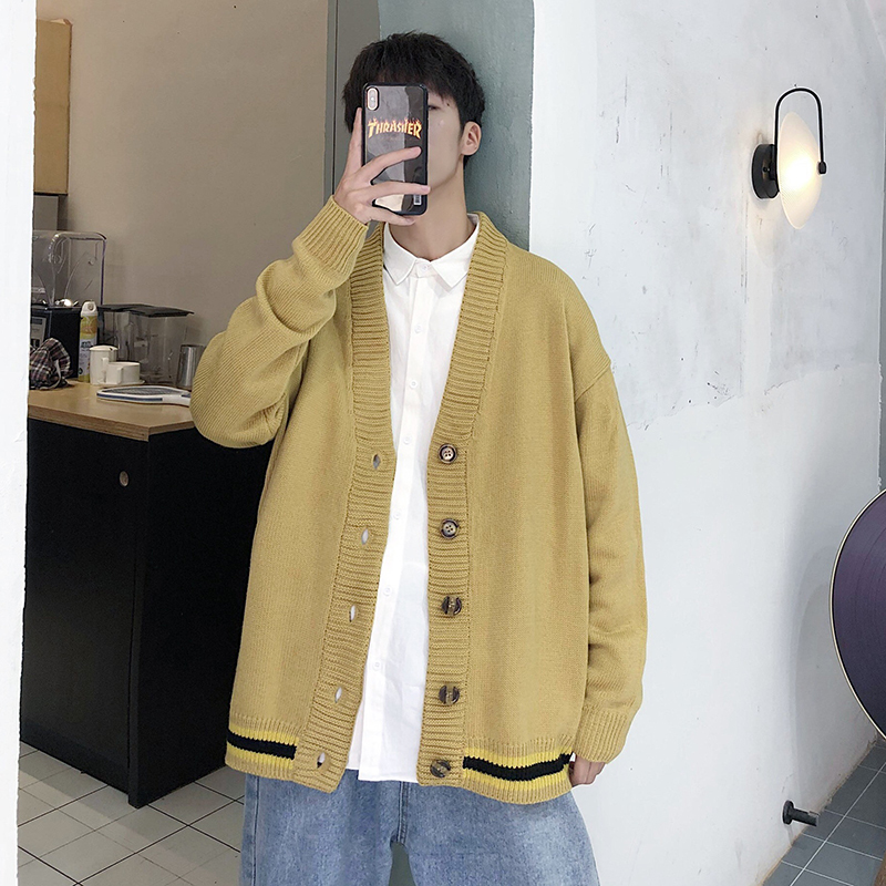 2019 Autumn Mens Thin Knitting Unlined Upper Garment Sweater Man Cardigan Handsome Loose Coat Chinese Style Striped Yellow Black