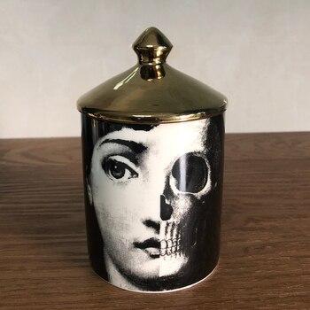 Lady Face Candle Holder Human Face Jar Candelabra Retro Storage Bin Ceramic Cafts Home Decoration Jewerlly Storage Box 12