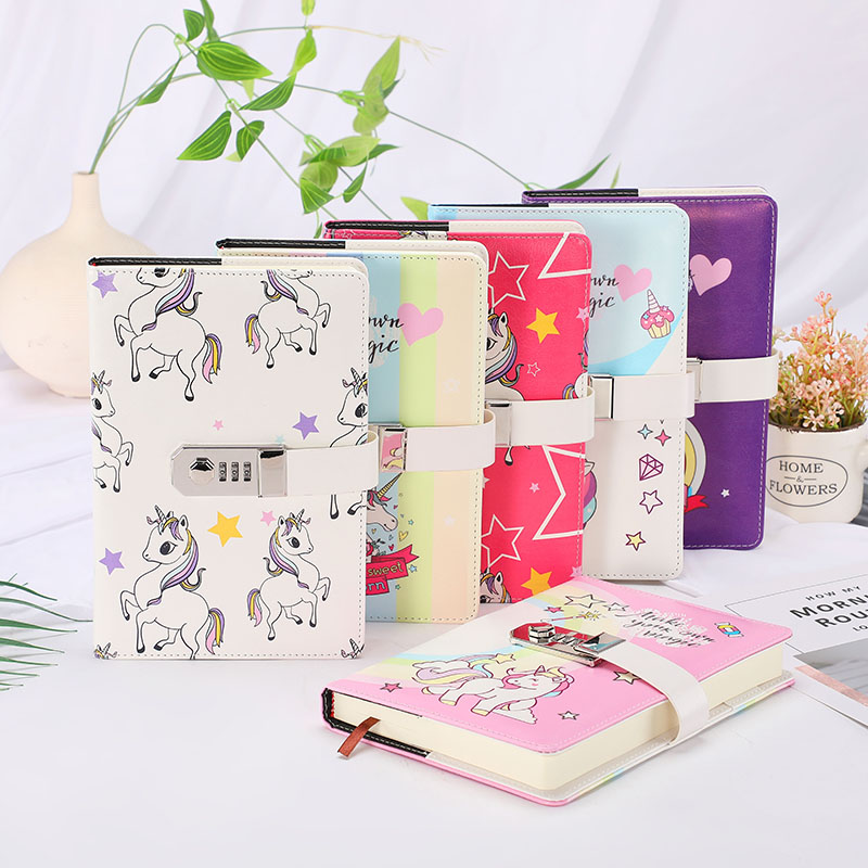 Image 4 - A5 Cute Unicorn Thicken Password Notebook with Code Lock Refillable Planner Daily Memos Kawaii Girls Diary Notebook Journal GiftNotebooks   -