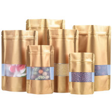 100Pcs Gold Zip Lock Mylar Foil Stand Up Bag with Frosted Window Heat Seal Tear Notch Food Storage Doypack Candy Tea Pouches