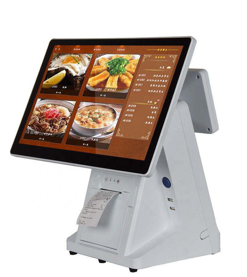 15.6inch All In One Touch Dual Screen VFD Cash Register POS System With Printer For Retail/Restaurant/Supermarket