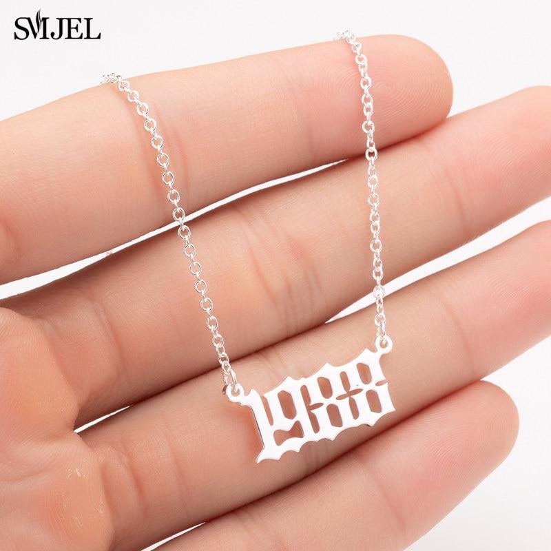 SMJEL personalizza anno numero collane per donna anno personalizzato 1980 1989 2000 regalo di compleanno dal 1980 al 2019 2
