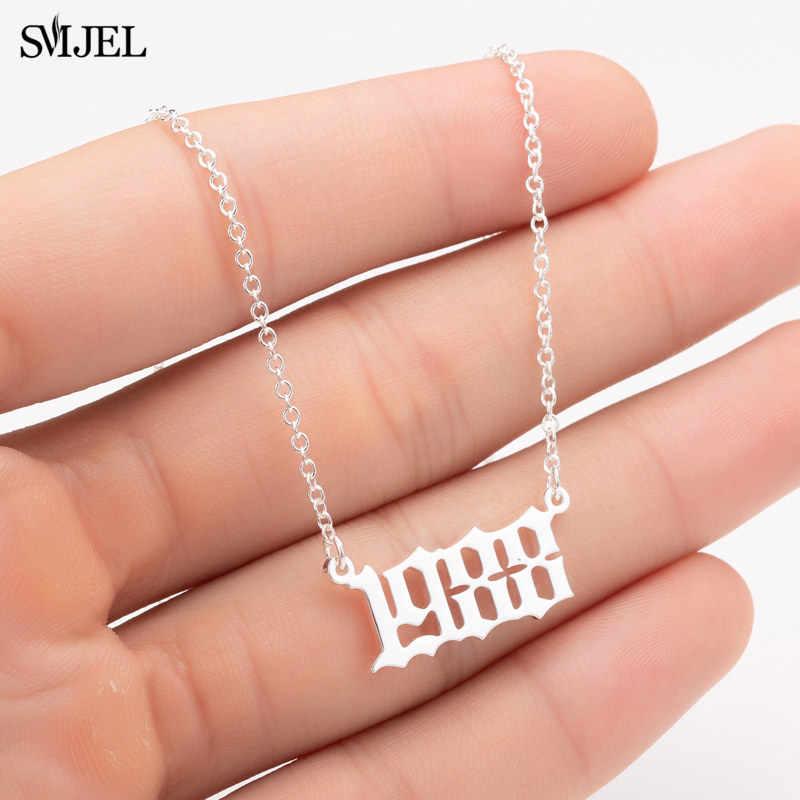 SMJEL パーソナライズ年番号ネックレス女性のためのカスタム年に 1980 から 1980 1989 2000 誕生日プレゼント 2019