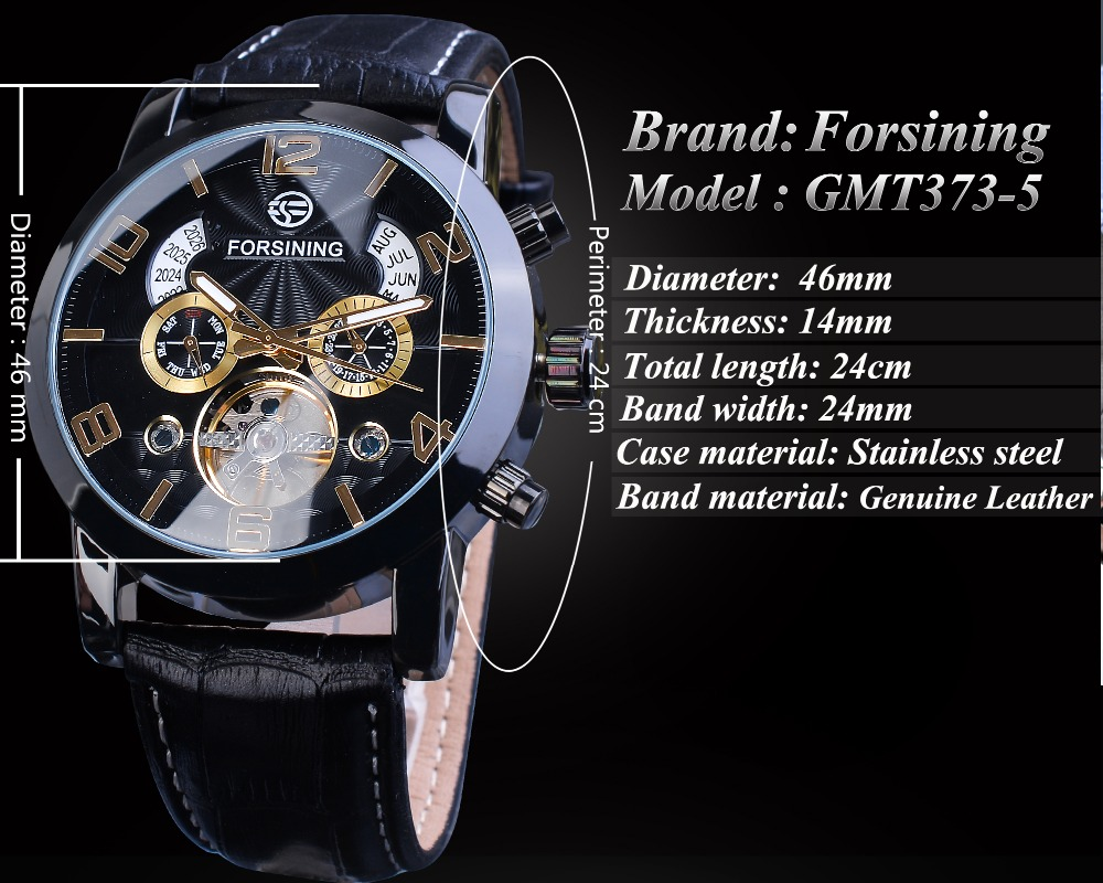 Hfde3fac83e0144faa7e14fa9956ca170w Forsining Tourbillion Fashion Wave Black Golden Clock Multi Function Display Mens Automatic Mechanical Watches Top Brand Luxury