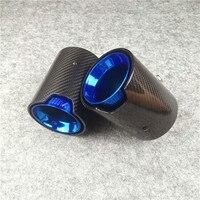 1 PCS Full Carbon + Blue Nozzles Tail M Performance Exhaust End Pipes For M1 M2 M3 M4 M5 M6 X3 X4 X5 X6 Exhaust Tips