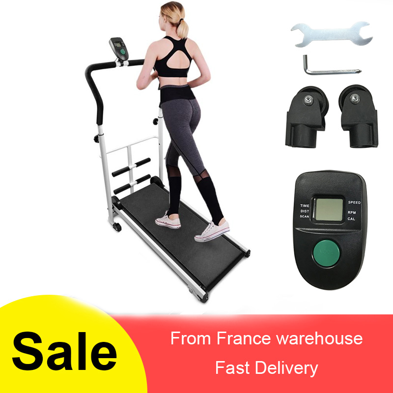 Unisex Fitness Treadmill Mini Treadmill With Sit-up Bar Black Blue Multi-function Manual Mechanical Treadmill For Home Use HWC