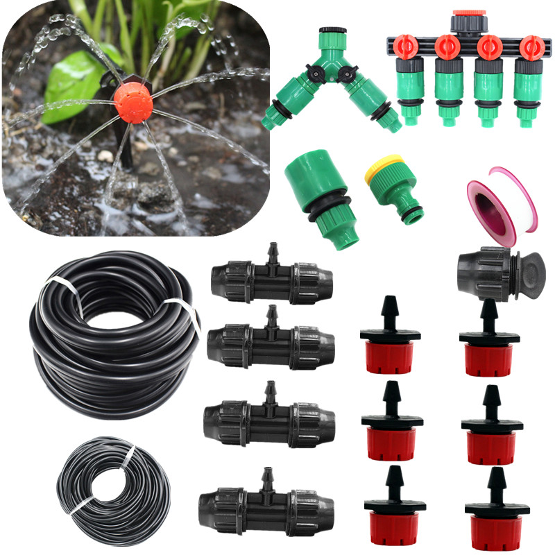 5/10/15/20m Red Dripper With 8/11 Tube Adjustable Emitter For Garden Potted Plant Watering Micro Drip Fittings image