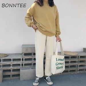 Image 3 - Capris Women Casual jednolity, na zamek proste luźne spodnie damskie wszystkie mecze modne proste spodnie z wysokim stanem studenci w stylu koreańskim