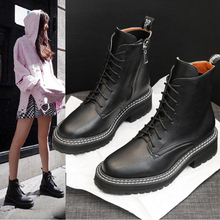 2019 New Fall Winter Martin Boots Women Black Leather Motorcycle Cowboy Platform Punk Combat Ankle Shoes