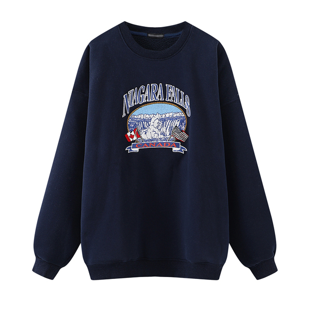 Oversize Girls Waterfall Embroidery Sweatshirts 2021 Spring-Autumn Fashion Ladies Soft Thick Pullovers Loose Women Chic Clothes 1