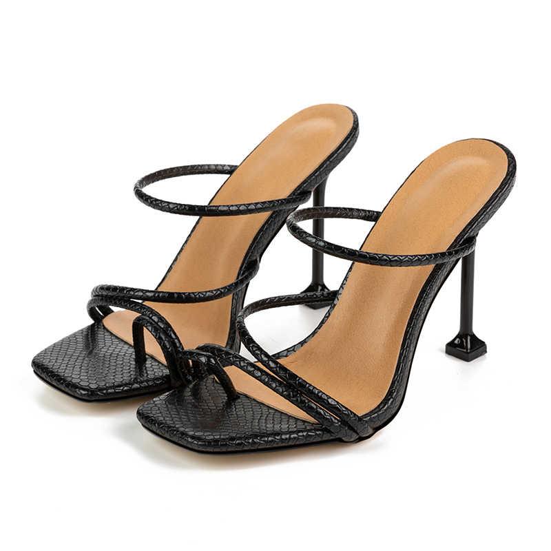 Kcenid Wit Zwart Snake Print Gladiatorschoen Mule Hakken Sandalen Slippers Vrouwen Hoge Hakken Slippers Vierkante Teen Slides Party Schoenen nieuwe