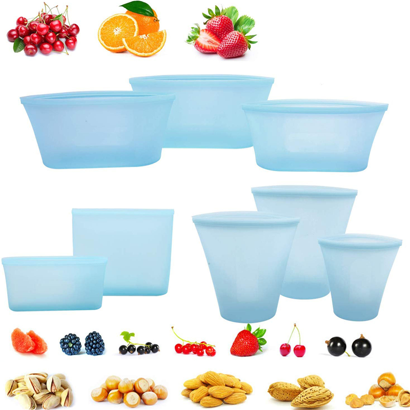 8Pcs Silicone Food Storage Bag Containers Leak Proof Fresh Bag Reusable Stand Up Zips Shut Bag Fruit Vegetable Cup With Seal