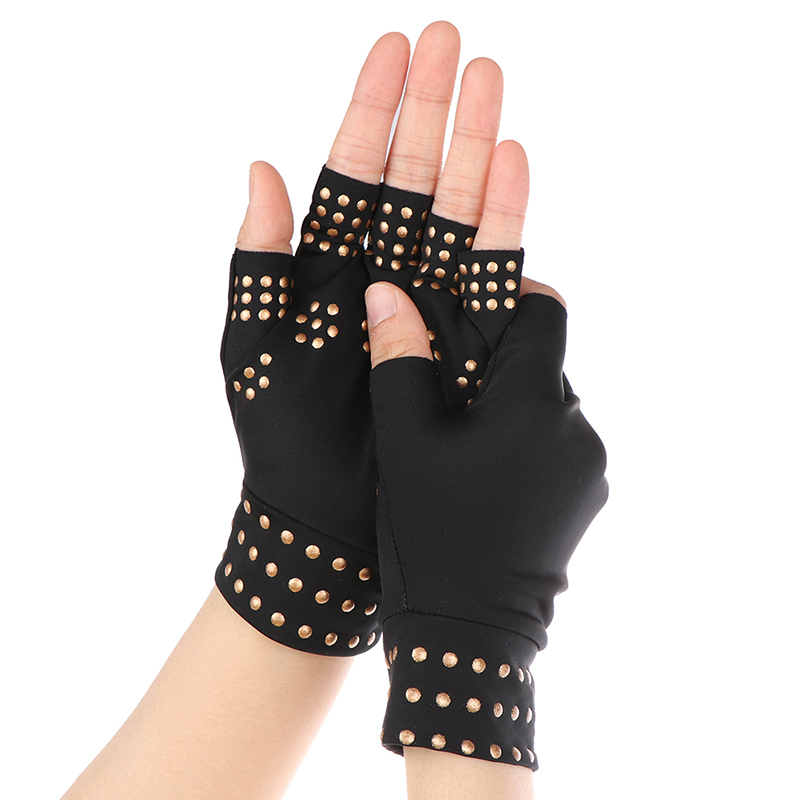 1 Pair Medical Anti Arthritis Gloves Compression Nursing Fingerless Gloves
