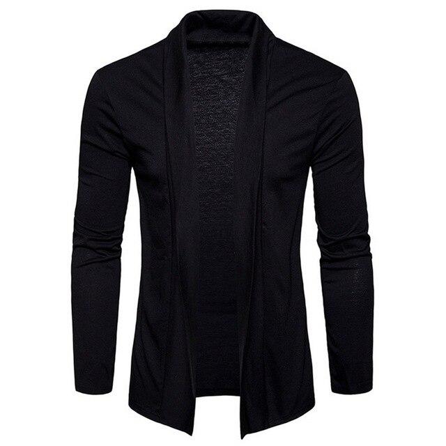 NEGIZBER 2019 jesień mężczyzna sweter solidna Slim Fit długi kardigan moda męska 100 bawełniany sweter mężczyźni Streetwear US rozmiar