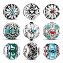 Natural Stone Lotus Karma Bead for Jewelry Making 925 Sterling Silver CZ Ethnic Blue Green Charm DIY Bracelet Necklace Women Men