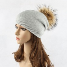 Real Fur Pompoms Winter Hats For Women Beanies Hat Wool Warm Cap Hip Hop Caps Solid Beanie Big Pom Ball Kitted Hats Girls Gorro