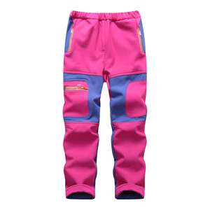 Image 5 - Brand Waterproof Boys Girls Pants Warm Trousers Sporty Climbing Trousers Children Patchwork Soft Shell Outfits For 105 160cm
