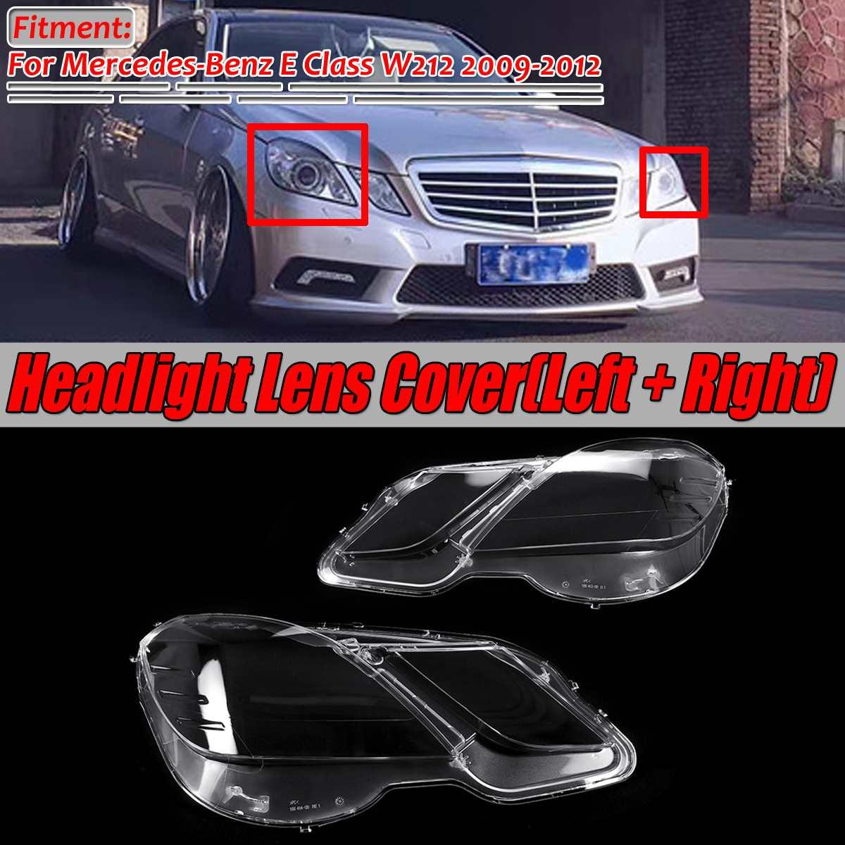 Left+Right W212 Car Front Headlight Headlamp Lens Cover Shell For Mercedes For Benz E Class W212 E200 E260 E300 E350 2009-2012