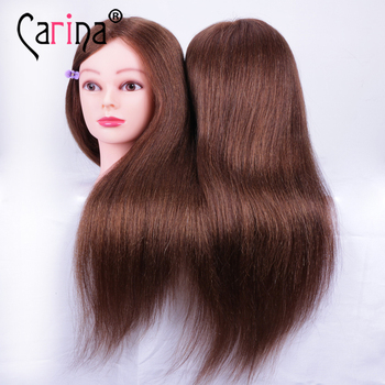 60CM 100% Real Human Hair Mannequin Head For Hairstyles Doll Hairdressing Head With Natural Hair Doll Head Hair Styling Training