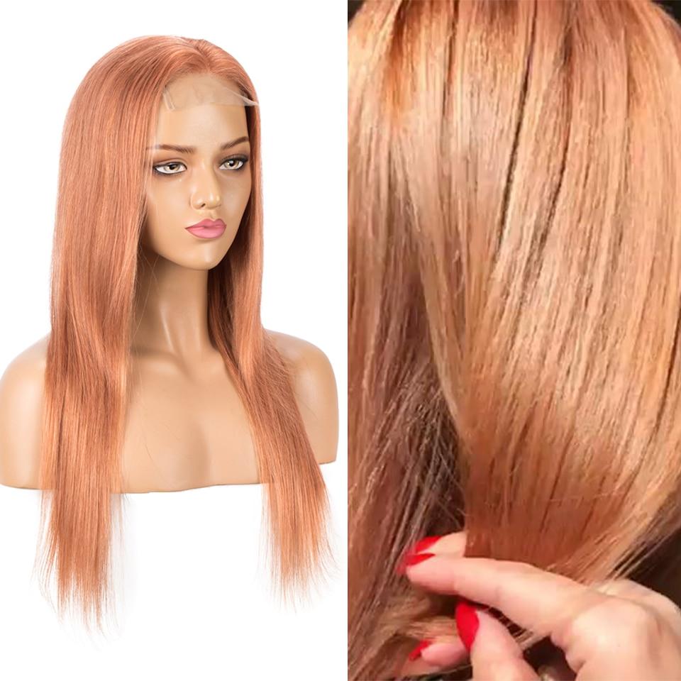 Sleek 4x4 Lace Closure Wig Orange Blonde Brazilian Hair Straight Bob 10 -22 Inch Short Human Hair Wig Pre-Plucked With Baby Hair