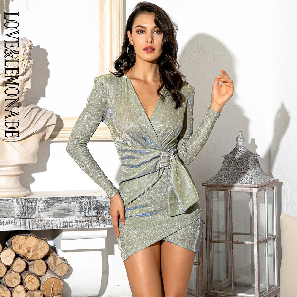 Amour et limonade Sexy col en v épaulette en métal boucle moulante partie réfléchissante Mini robe LM81989-1