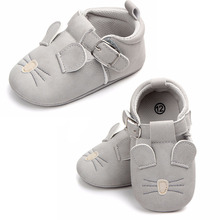 Baby Grey Sneakers Frosted Leather Breathable Prewalker Baby Shoes Non-slip Toddler Soft Sole Shoe Cute Baby Infant Sneaker