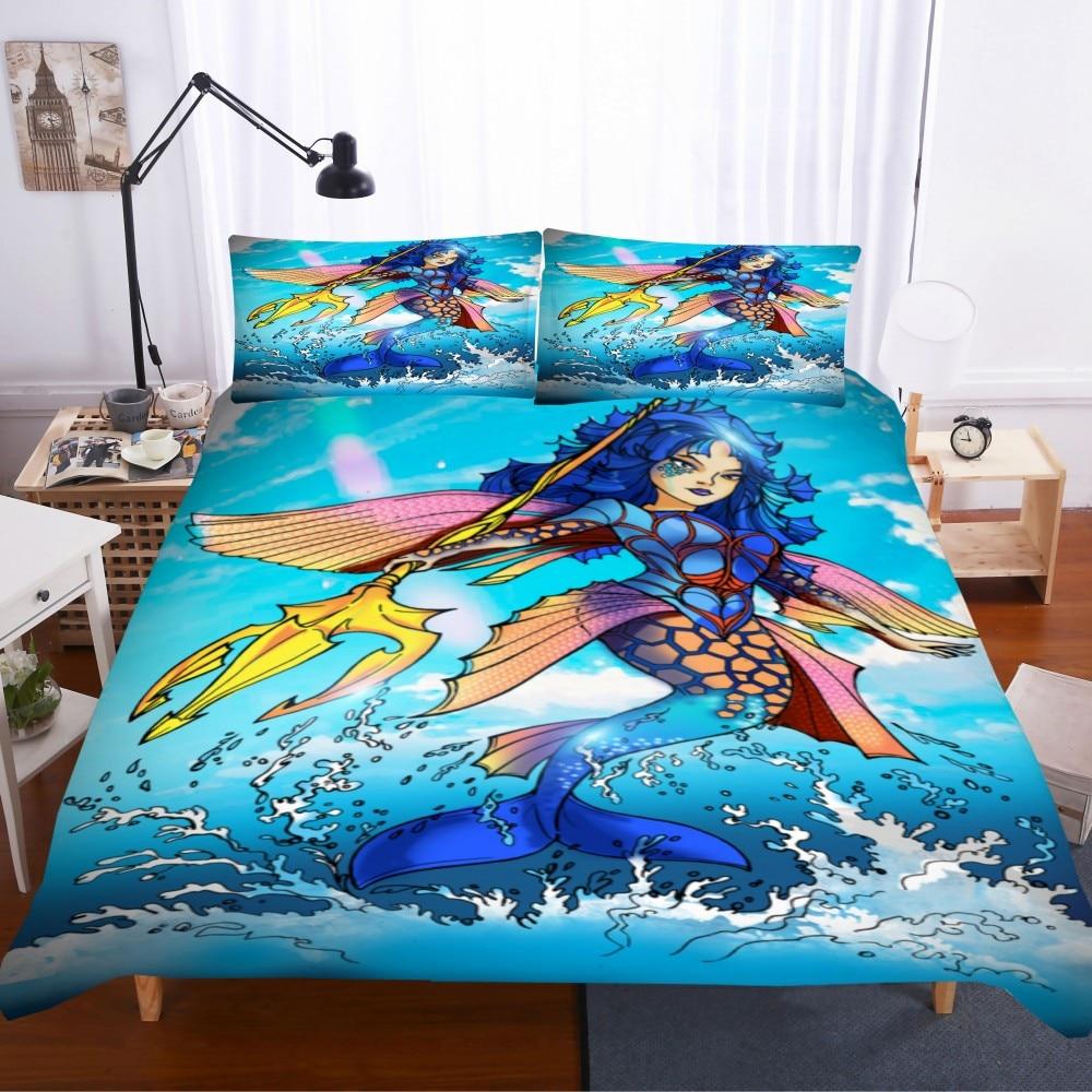 Sea Mermaid Duvet Cover Set 3D Print Cartoon Animal Bedding Set Pillowcase Bedclothes Home Bed Set 2/3 Pieces Blue Quilt Cover