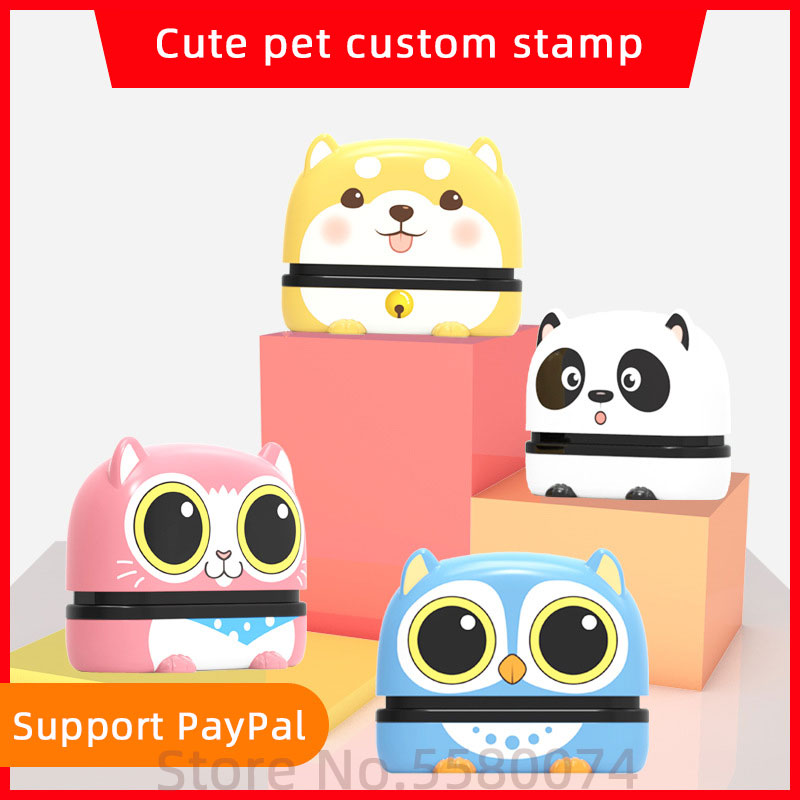 Large Size Custom-made DIY Name Seal Clothes Chapter Cute Pet Security Name Stamp Sticker Owl Cat Dog 15X50MM For Longer Text