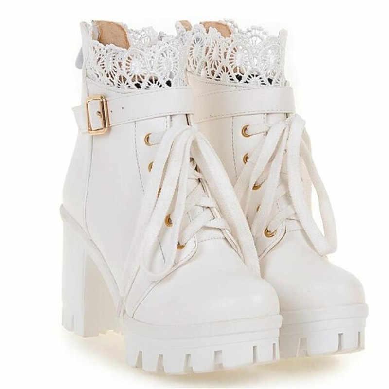 Kış yeni desen yüksek topuklu kaba topuk Martin çizmeler çılgınlığı su geçirmez kalın alt büyük kod beyaz kadın botları 34-43