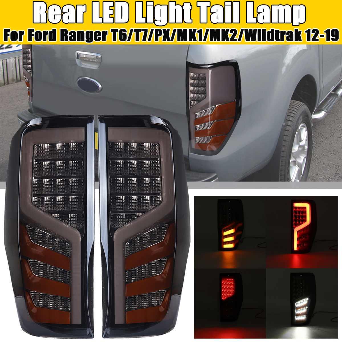 Pair Car LED Rear Tail Light Assembly Red for FORD RANGER RAPTOR T6/T7/PX/MK1/MK2/WILDTRAK 2012 2013 14-2019 Car Light Assembly