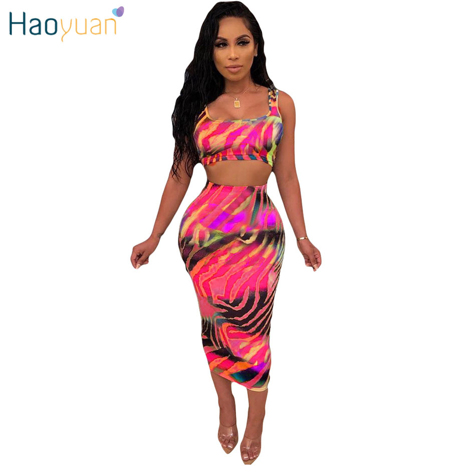 HAOYUAN Tie Dye Sexy Two Piece Set Festival Clothes Crop Top And Skirt 2 Piece Club Outfits For Women Midi Dress Matching Sets