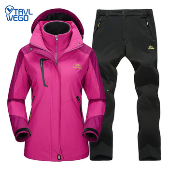 TRVLWEGO Women Winter Camping Hiking Suit Trekking Skiing Climbing Waterproof Outdoor Jackets Soft Shell Pants Warm Trousers Set ray grace winter outdoor trekking hiking softshell pants women waterproof mountain climbing thermal trousers female pantalon