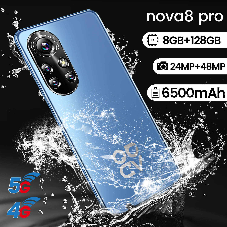 New Arrival Nova 8 Pro 6.8 Inch 4G 5G Network Mobile Phone 8+256GB HD Full Screen Dual SIM 6500mAh Support Face Unlock Cellphone