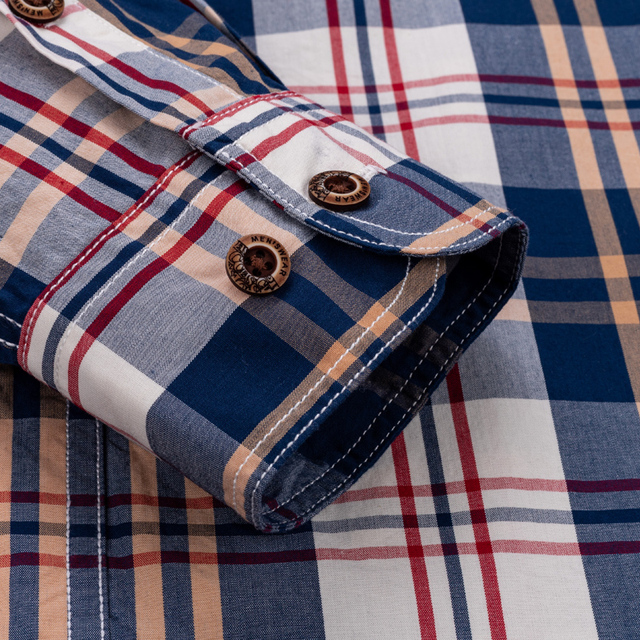 England Style Contrast Casual Checkered Shirts 3