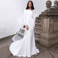 Eightree Long Sleeves Mermaid Wedding Dress V Back Bridal Dresses vestidos de noiva Plus Size V Back Train Wedding Gowns