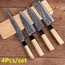 4Pcs/set Stainless Steel Kitchen Knife Set Sashimi Knife Chef Knife Meat Cleaver Slicing Tools Sushi Fillet Knife Set sashimi knife 14 inches