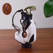 Mini-Golf na długopisy z piórem dla dekoracja biurka torba Golf prezent dla golfisty współpracownika fanatycznych fanów tanie tanio XINGJINGCHENG XJC-C3 Golf Gift Set Black with White PU (1 2mm thickness ) Aluminum Alloy Gel Ink Putter Club Driver Club