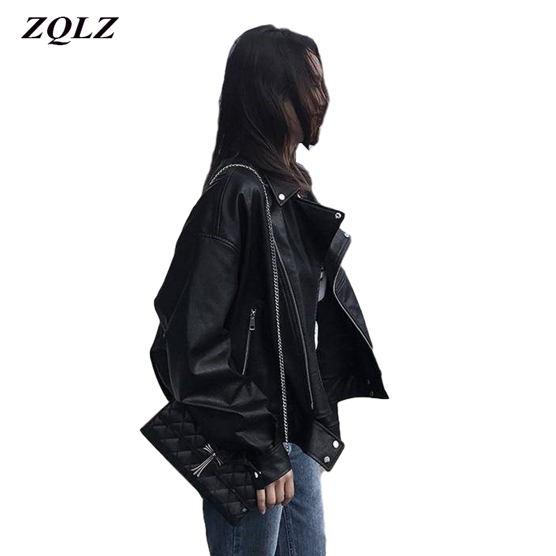 ZQLZ Spring Motorcycle Jacket Women Short Faux Soft Womens Leather Jacket PU Black Red Leather Jacket Ladies Basic Street Coat
