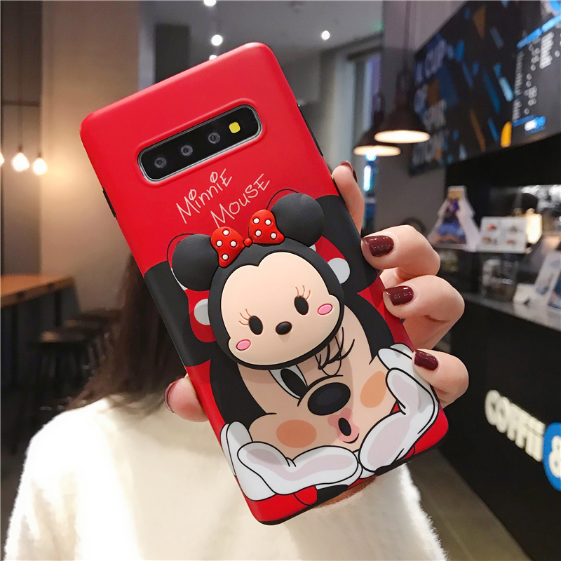 Fashion Red Cartoon Mouse Soft Silicone Phone Case For Samsung Galaxy S8 Plus S9 Note 8 9 S10 Plus 3D Folding Stand Cover Coque