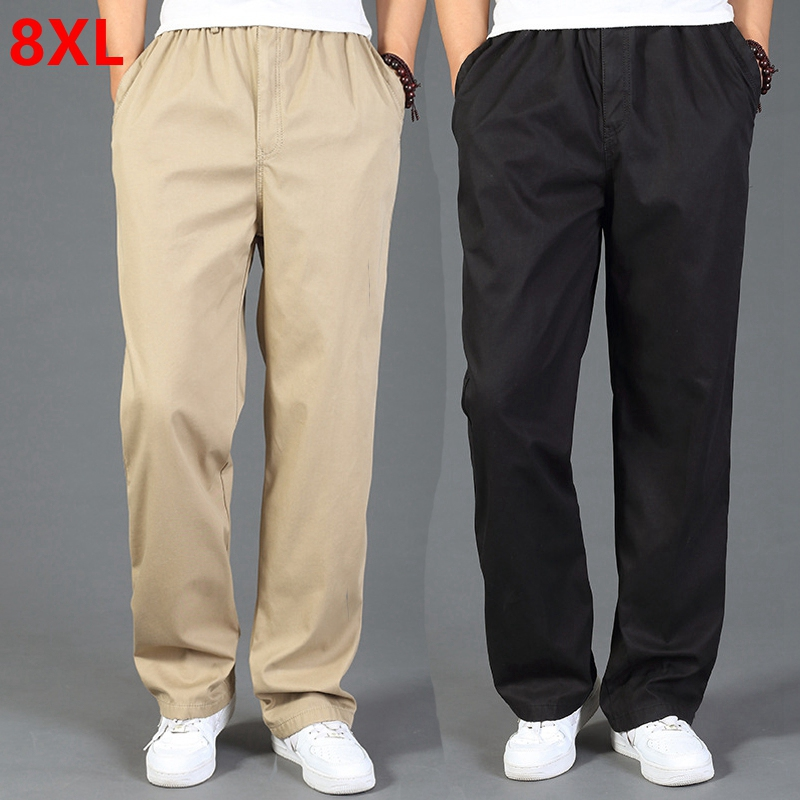 Spring Autumn Cotton Thick Men's Elastic Waist Pants High Waist Large Size Cotton Trousers Waist Elastic With Zipper 8XL 7XL 6XL
