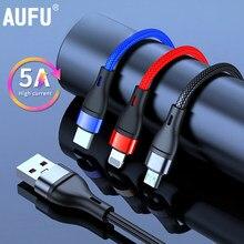 5A Schnelle Ladung 3 in 1 USB Kabel für Huawei Typ C Kabel für Samsung Xiaomi für iPhone 12X11 Pro Max Ladegerät Micro USB Kabel