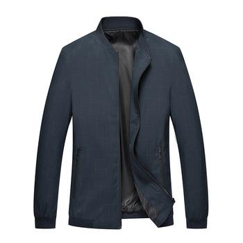 Jacket men's thin jacket autumn 2019 new trend handsome plaid capless round neck casual jacket JG 9057