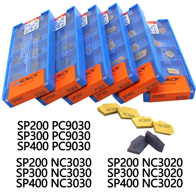 SP200 SP300 SP400 PC9030 NC3020 NC3030 Korloy Grooving Carbide Inserts Lathe Cutter Turning Tool Parting And Grooving Off Tools