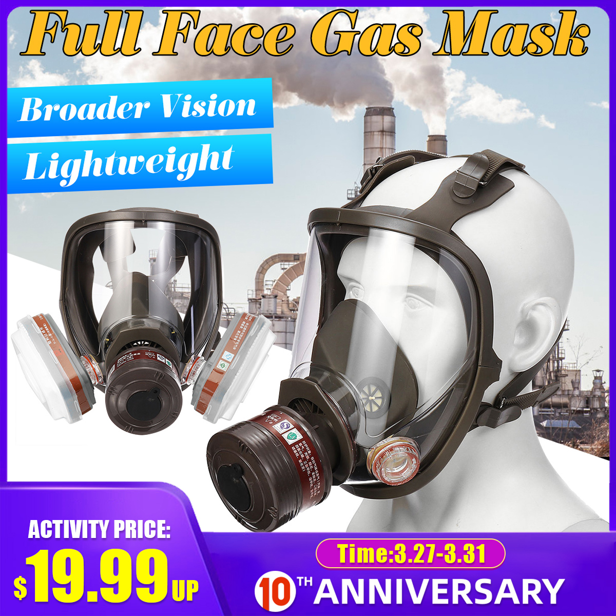 Adjustable 6800 Face Gas Mask Full Face Facepiece Painting Spraying Respirator For Gas Mask Respirator Filter Safety Mask