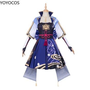 YOYOCOS Genshin Impact Cosplay Costumes Kamisato Ayaka Game Girl Dress Cute Halloween Party Woman Clothes