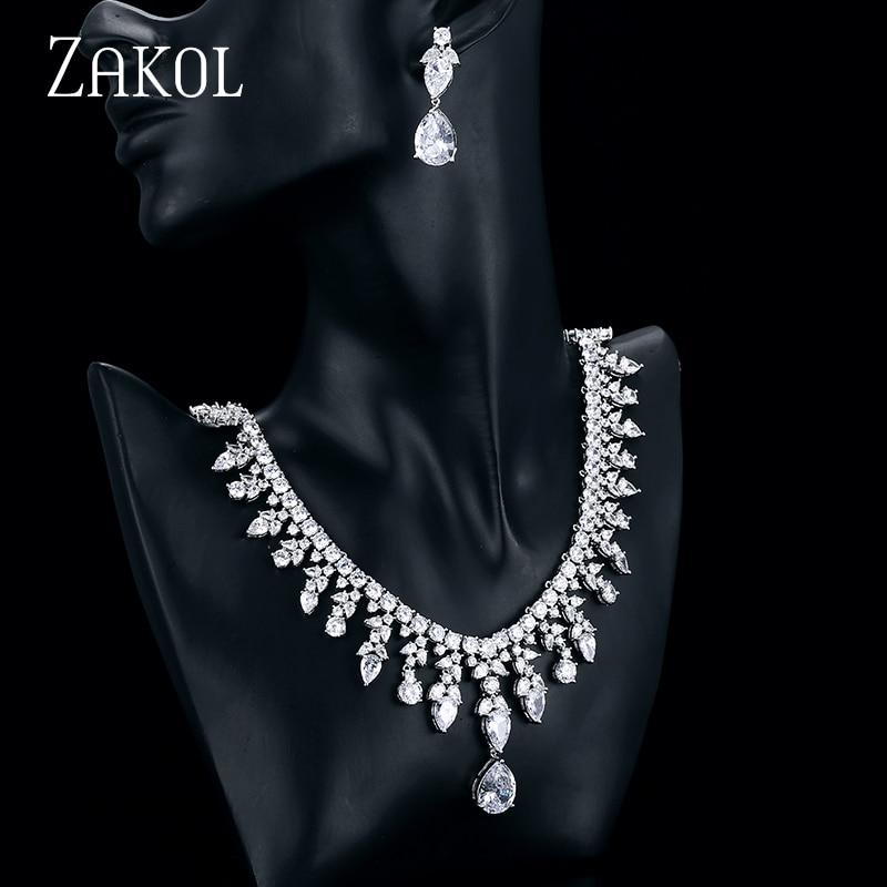 ZAKOL luxe clair goutte d'eau cubique zircone ensemble de Bijoux mode Zircon feuille blanc couleur mariage Bijoux Femme Bijoux FSSP249
