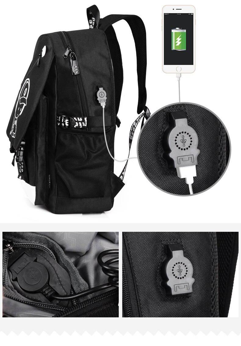 portátil com porta de carregamento usb bookbag